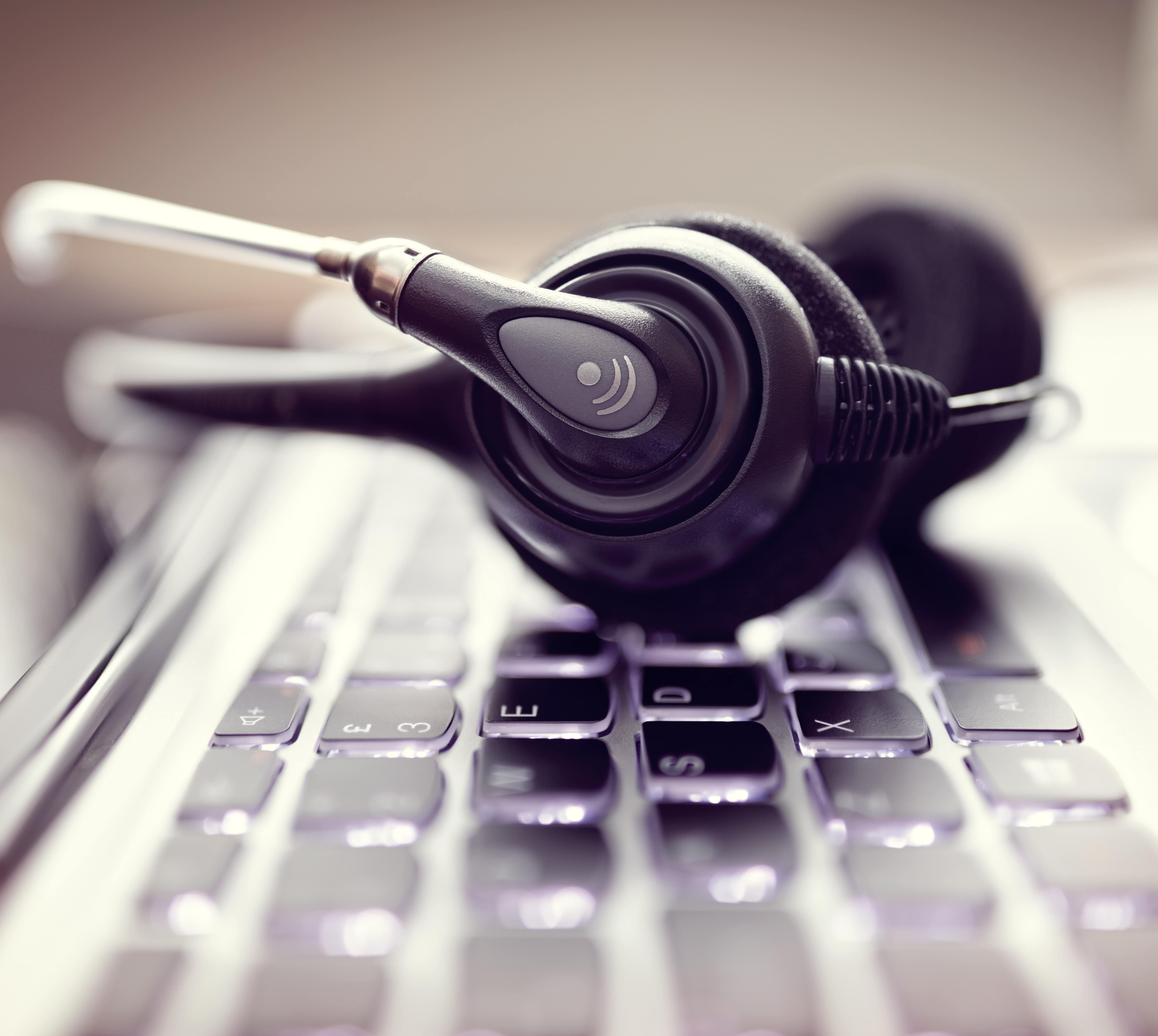 Helpdesk headset on keyboard